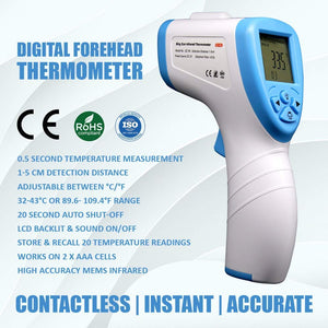Infrared Thermometer (IPX0 Waterproof)GP-200 Forehead thermometer / Temperature Gun for baby and adults Measures surface/room/water/Milk temp(White Blue)