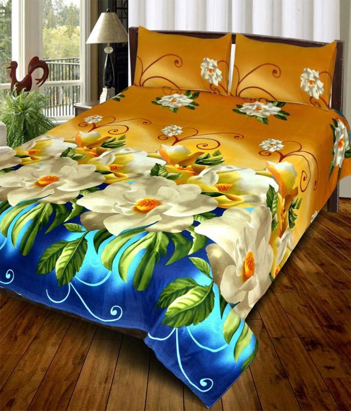 Double Bed 3D Printed Bedsheet Golden Blue - IndiaCliq