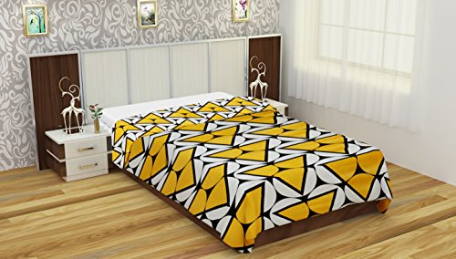 NC Creation Cotton Blanket - Yellow and White - IndiaCliq