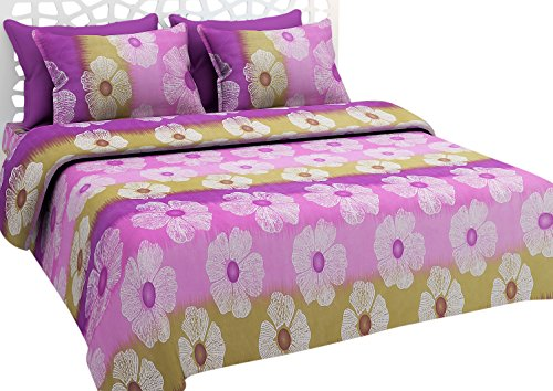 NC Creations Polycotton Double Bedsheet with 2 Pillow Covers - Floral, Purple - IndiaCliq