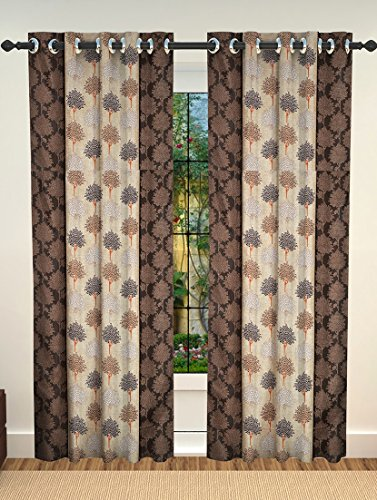 NC Creations Geometric 2 Piece Polyester Door Curtain Set - 7ft, Brown - IndiaCliq