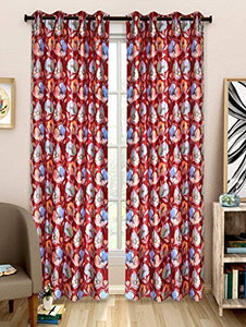 NC Creations Floral 2 Piece Polyester Door Curtain Set - 7ft, Red (NC-CURTX2-352_New) - IndiaCliq