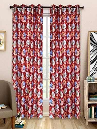 NC Creations Floral 2 Piece Polyester Door Curtain Set - 7ft, Red (NC-CURTX2-352_New)