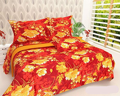 NC Creations 195 TC Cotton Blend Double Bedsheet with 2 Pillow Covers - Floral, Red
