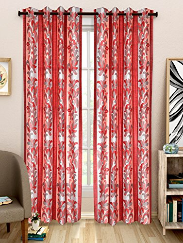 NC Creations Floral 2 Piece Polyester Door Curtain Set - 7ft, Red (NC-CURTX2-365_New)