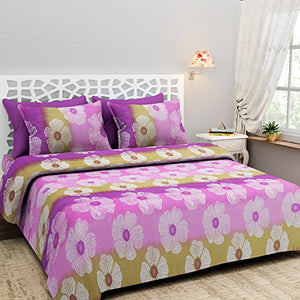 NCCREATIONS Multicolored Floral Printed Cotton Double bedsheet Set - IndiaCliq
