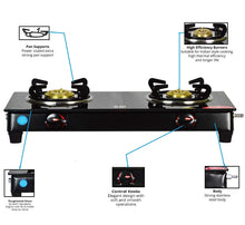 Load image into Gallery viewer, SEE WAY 2 Burner Nano Glass Manual Gas Stove Black Finish (2 Burners)
