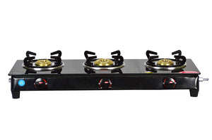 See way 3 Burner Nano Glass Manual Gas Stove black finish (3 Burners)