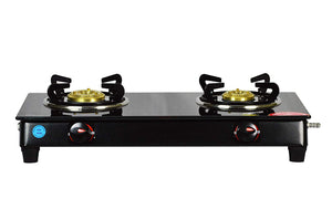 SEE WAY 2 Burner Nano Glass Manual Gas Stove Black Finish (2 Burners)