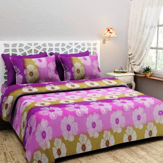 NC Creations Double Bedsheet with 2 Pillow Covers - Floral, Purple - IndiaCliq