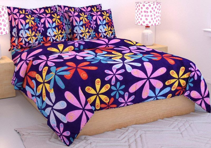 NC Creations 180 TC Microfiber Double Bedsheet with 2 Pillow Covers - Floral, Blue (NC-WOLLEN-421) - IndiaCliq
