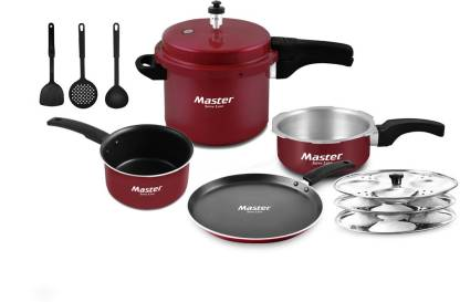 Master Kitchen Set Cookware Set  (Aluminium, 8 - Piece)-Maroon - IndiaCliq