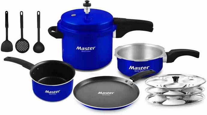 Master Kitchen Set Cookware Set  (Aluminium, 8 - Piece)-Blue