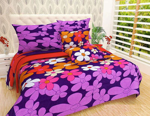 NC Creations 195 TC Cotton Blend Double Bedsheet with 2 Pillow Covers - Floral, Purple - IndiaCliq