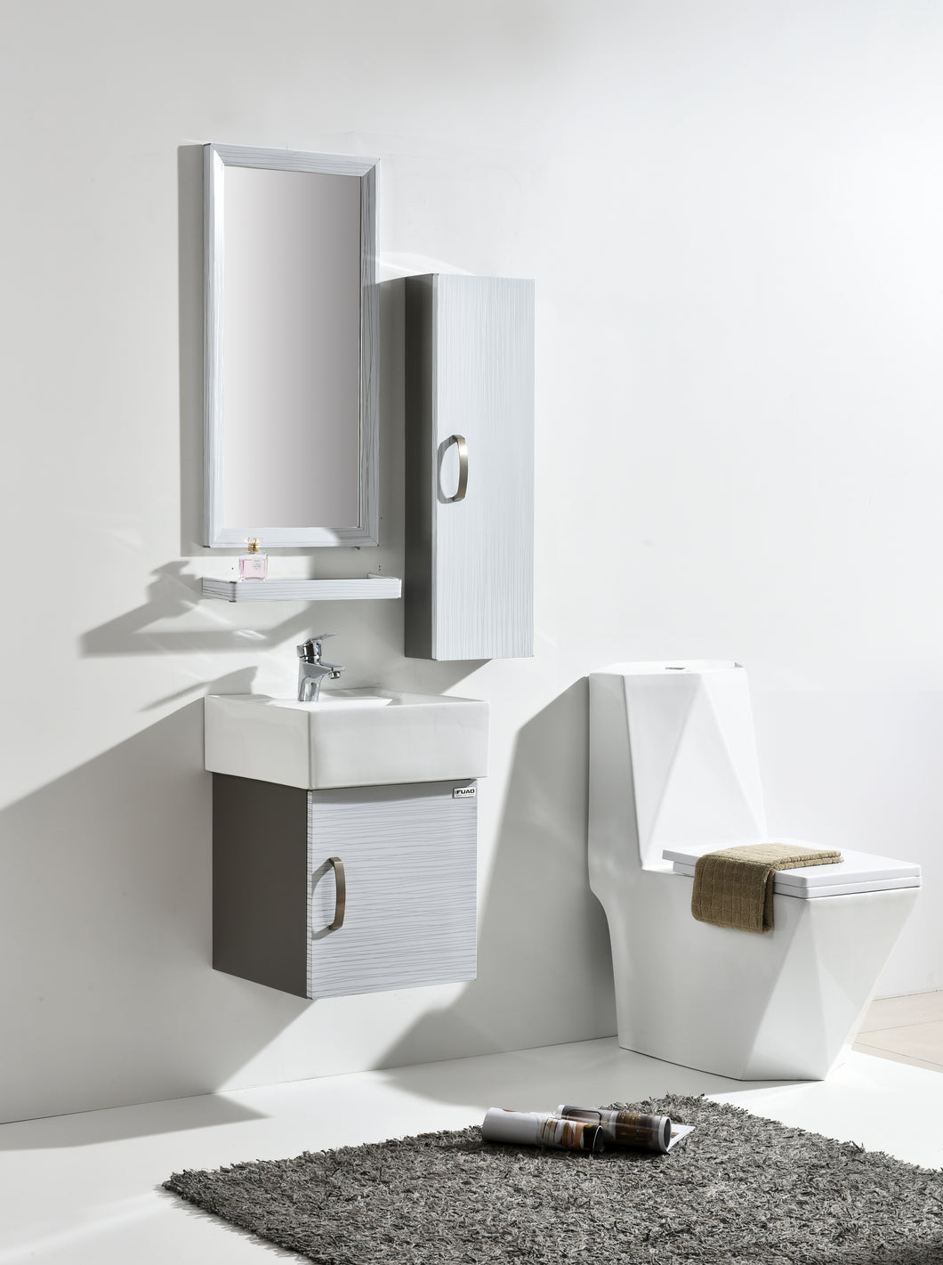 Blanca (wall mounted) Designer Art Bathroom Vanity With Cabinet Shelf & Wash Basin - IndiaCliq