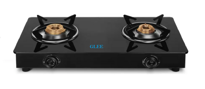 GLEE 2 BURNER CURVE BLACK BODY TOUGHEN BLACK GLASS GAS STOVE - IndiaCliq