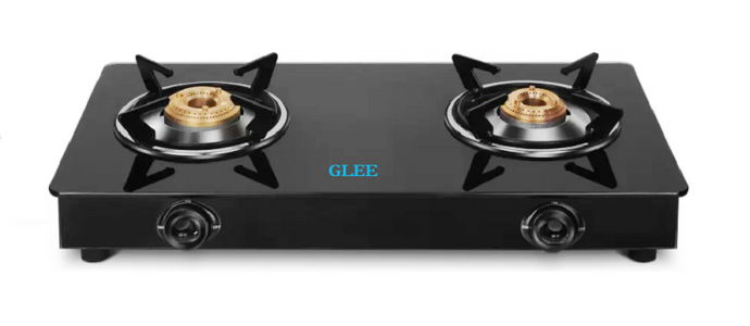 GLEE 2 Burner Nano Glass Manual Gas Stove black finish (2 Burners) - IndiaCliq