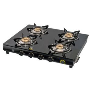 GLEE 4 BURNER CURVE BLACK BODY TOUGHEN BLACK GLASS GAS STOVE - IndiaCliq