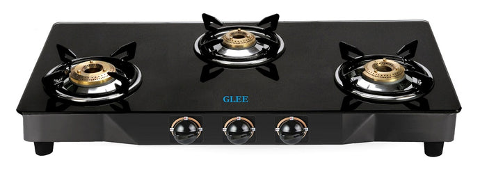 GLEE 3 BURNER CURVE BLACK BODY TOUGHEN BLACK GLASS GAS STOVE - IndiaCliq