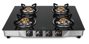 GLEE 4 BURNER FRONT DIAMOND DESIGN STAINLESS STEEL BODY TOUGHEN BLACK GLASS GAS STOVE - IndiaCliq
