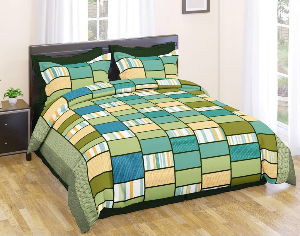 Multicolored Printed Polycotton Double Bedsheet Set With 2 Pillow Covers - IndiaCliq