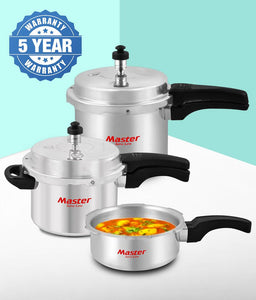 Master Family Pressure Cooker Combo Set of 2L Pan, 3L & 5L Induction Base with Common Lid (Set of 3) - IndiaCliq