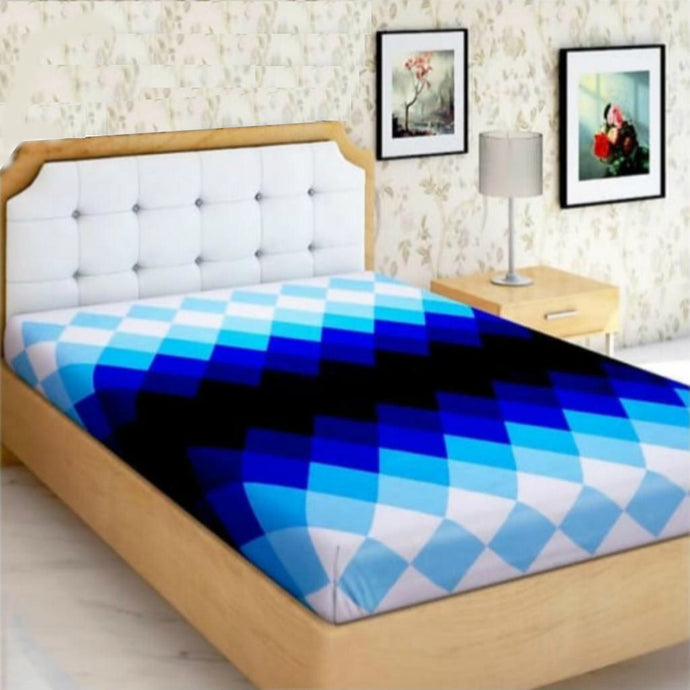 Microfiber Double Bed 3D Printed Bedsheet Blue