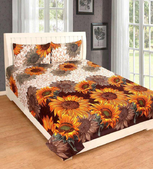 Multicolored Printed Polycotton Double Bedsheet Set With 2 Pillow Covers