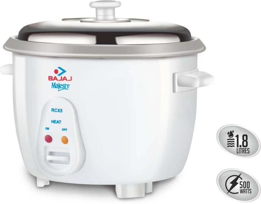 Bajaj Majesty New RCX 5 Electric Rice Cooker  (1.8 L, White) - IndiaCliq