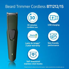Load image into Gallery viewer, Philips BT1212/15 Runtime: 30 min Trimmer for Men  (Green) - IndiaCliq