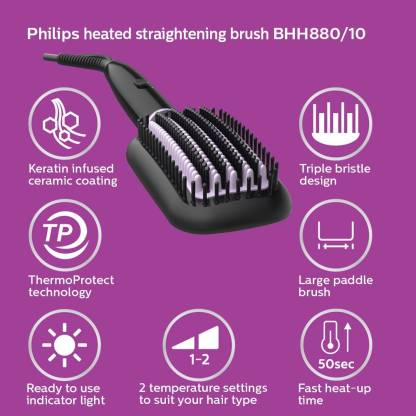 Philips BHH880/10 Heated Straightening Brush with Thermoprotect Technology Hair Straightener  (Black) - IndiaCliq