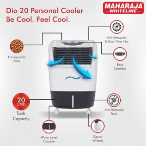 Maharaja Whiteline 20 L Room/Personal Air Cooler  (White, Grey, DIO 20 / CO-157) - IndiaCliq