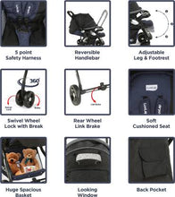 Load image into Gallery viewer, LuvLap Galaxy Stroller Pram - Black ( For babies upto 25 kgs) Stroller  (3, Black)