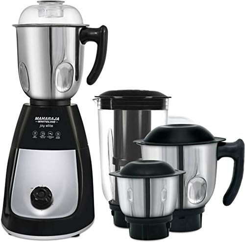 Maharaja Whiteline Joy Turbo Classic 550-Watt Mixer Grinder with 3 Jars (Black/Silver) by Maharaja Whiteline - IndiaCliq