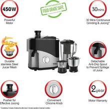 Load image into Gallery viewer, Maharaja Whiteline ODACIO 500 PLUS ( JX-132) 450 W Juicer Mixer Grinder  (Black, Grey, 3 Jars) - IndiaCliq