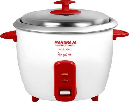 Maharaja Whiteline Inicio DUO (RC -102) Electric Rice Cooker with Steaming Feature  (1.8 L, Red, White)