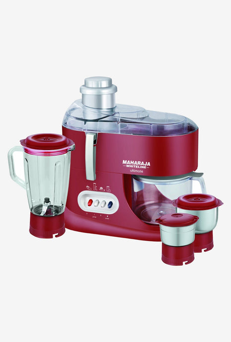 Maharaja Whiteline Ultimate 550 W 3 Jars Juicer Mixer Grinder (Red) - IndiaCliq