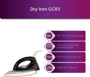 Philips GC83 750 W Dry Iron  (Black) - IndiaCliq
