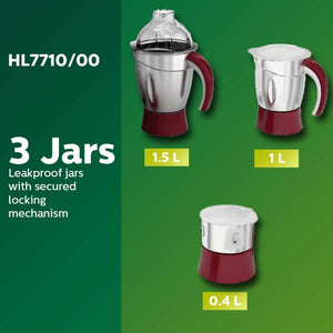Philips HL7710 /00 600 W Mixer Grinder  (Red, White, 3 Jars) - IndiaCliq