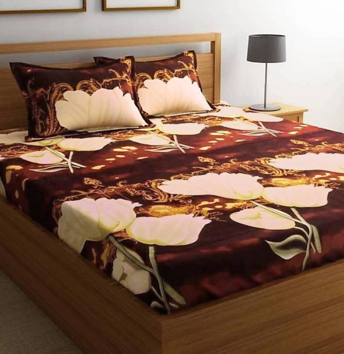 Microfiber Double Bed 3D Printed Bedsheet Brown