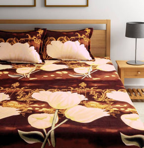 Microfiber Double Bed 3D Printed Bedsheet Brown - IndiaCliq