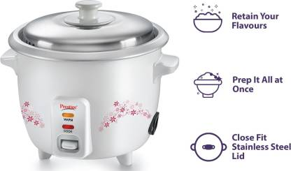 Prestige Delight PRWO 1.5 (1.5L OPEN TYPE) Electric Rice Cooker with Steaming Feature  (1.5 L, White)