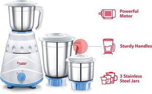 Prestige Atlas 550 W Mixer Grinder  (white and Blue, 3 Jars)