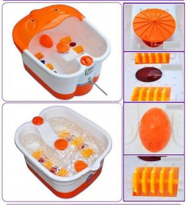 Multifunction Footbath Massager  (White, Orange) - IndiaCliq