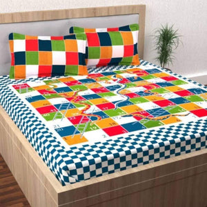 Cotton Double Bed Geometric Bed sheet Snakes & Ladders - IndiaCliq