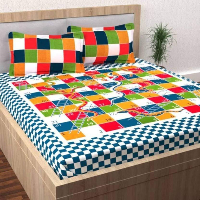 Cotton Double Bed Geometric Bed sheet Snakes & Ladders