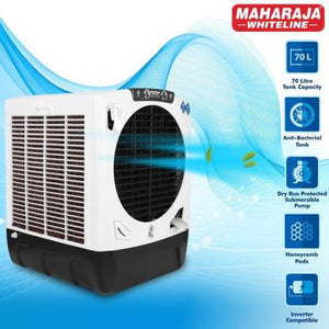 Maharaja Whiteline 70 L Desert Air Cooler  (White, Black, Super Grand Plus) - IndiaCliq