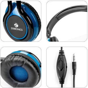 Zebronics ZEB-BUZZ Wired Headset with Mic  (Blue, Over the Ear)