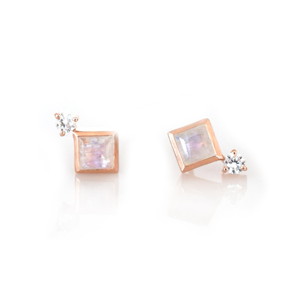 Rose Gold Rainbow Moonstone Belle Studs 1
