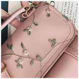Fashion School Backpack High Quality Women Shoulder Bag w/ Floral Embroidery Design